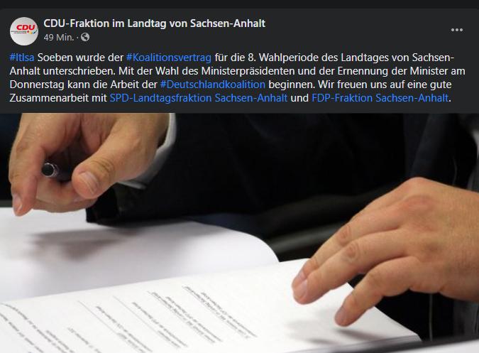 Unterzeichnung des Koalitionsvertrags